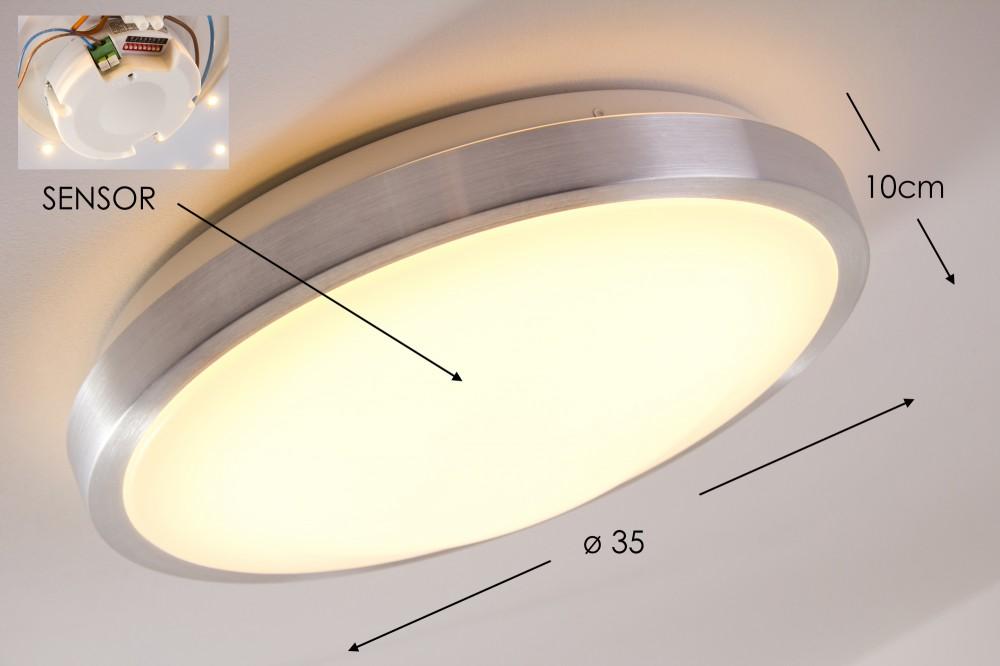Plafoniera Esterno Sensore Movimento : Led plafoniera sensore movimento varialuce ip44 bagno design rotondo