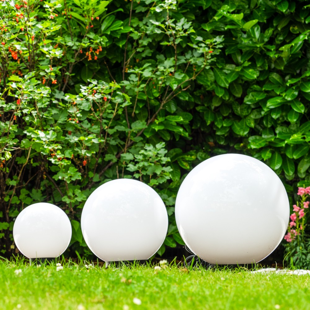 boules lumineuses 20 cm 30 cm 40 cm bornes d 39 clairage lampes de jardin 143406 ebay. Black Bedroom Furniture Sets. Home Design Ideas