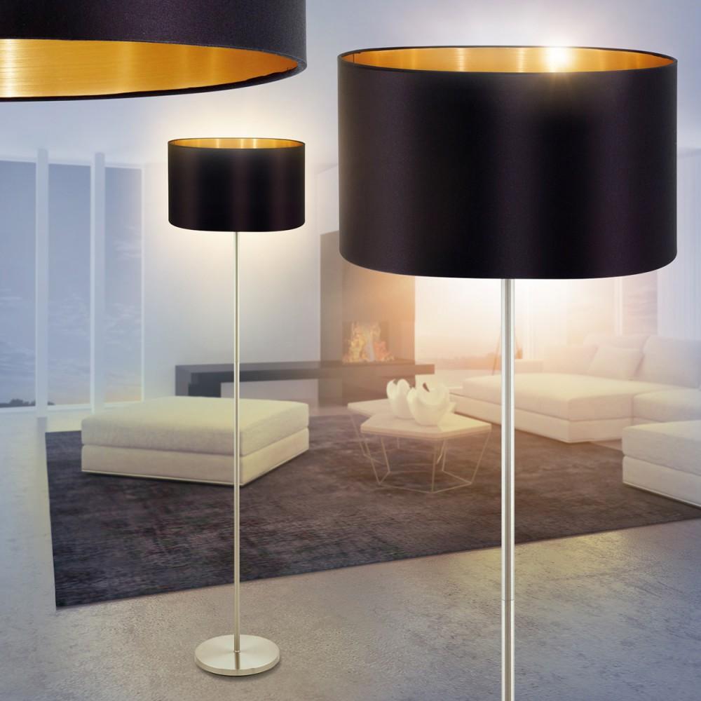 Moderne Stehlampe Stand Boden Leuchten Stoff Schwarz Gold Schlaf