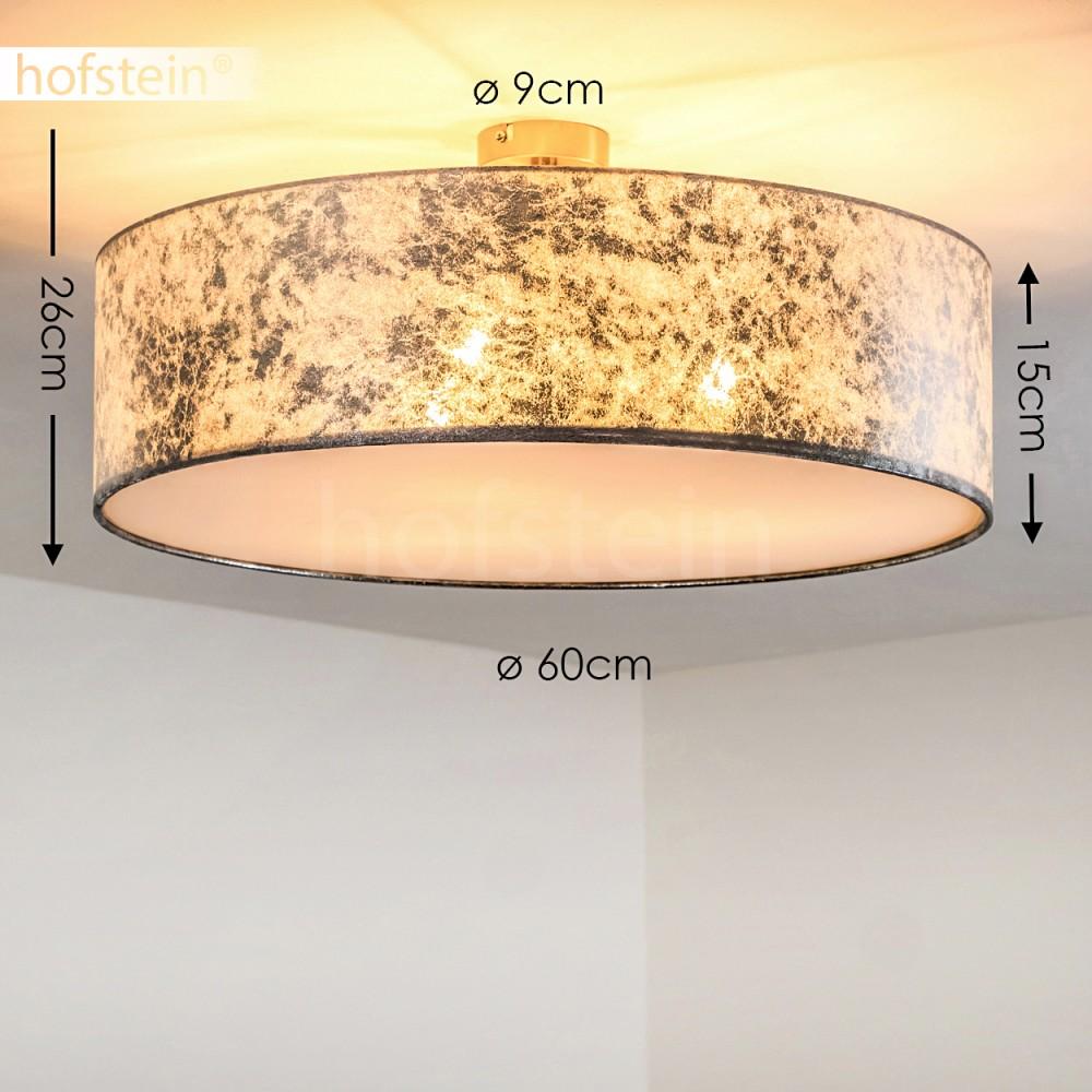 Flur Stoff Lampe Leuchte Silber mit 3 x 7 Watt Philips LED Birne Ø60cm Wohn Raum