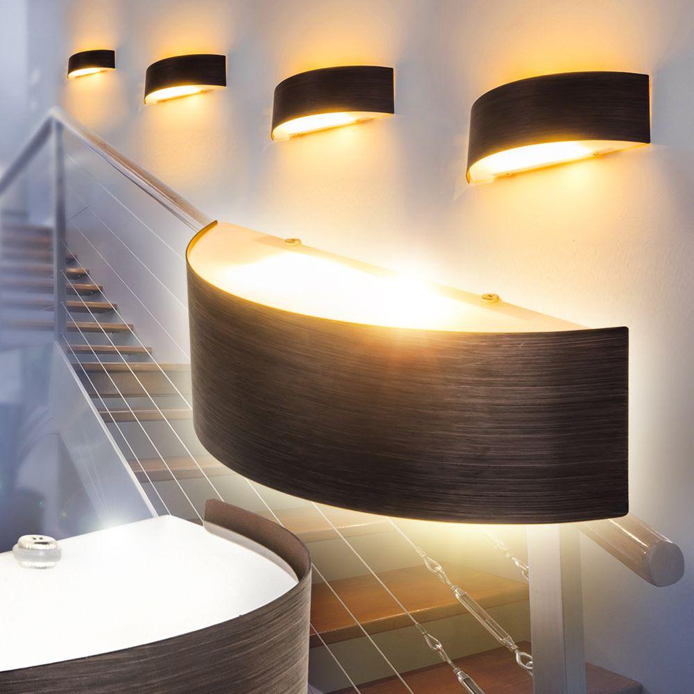 Wand Lampen Design Up Down Flur Dielen Büro Wohn Schlaf Zimmer Leuchten schwarz