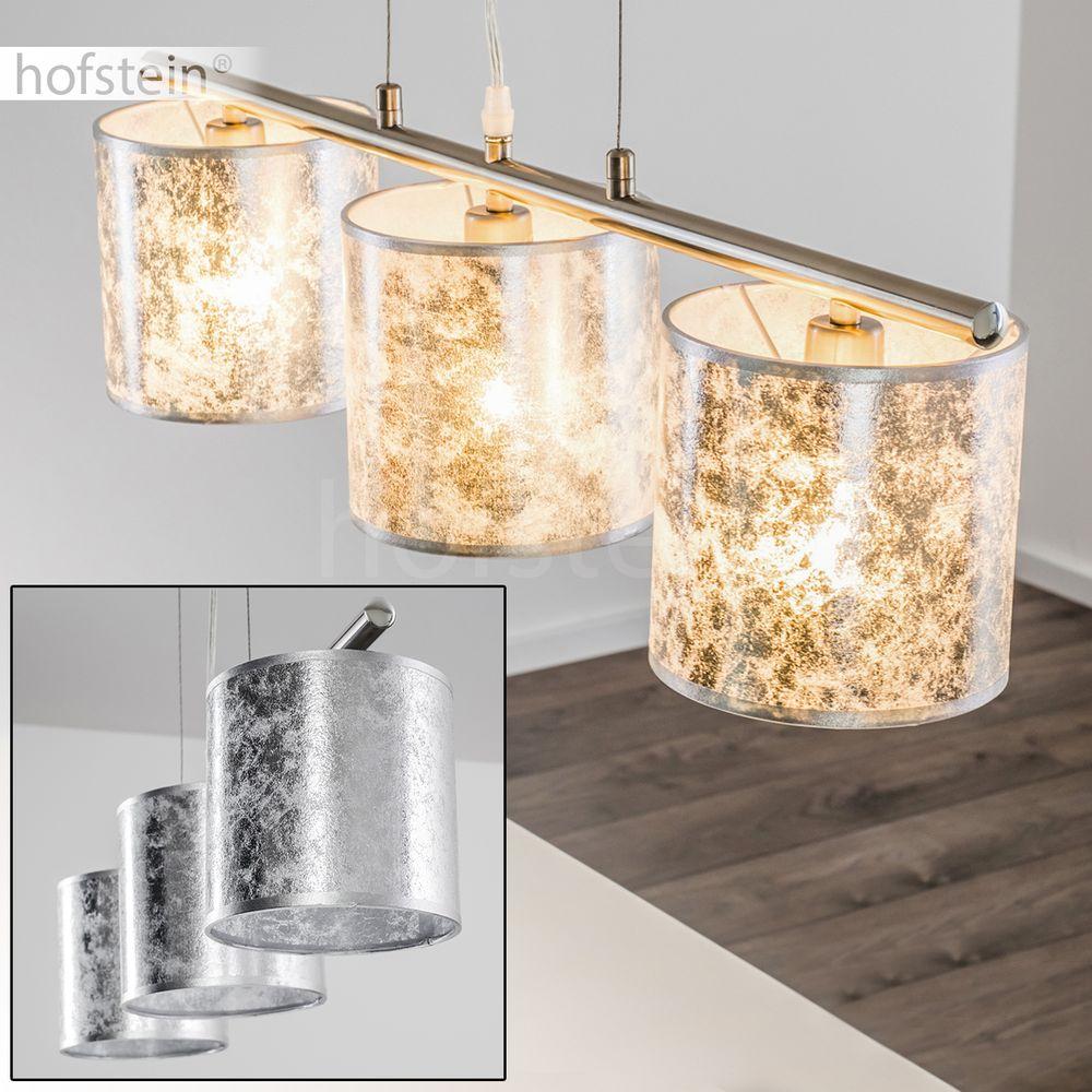 Luxus Hänge Leuchte Ess Wohn Schlaf Zimmer verstellbar Pendel Lampe Stoff Silber