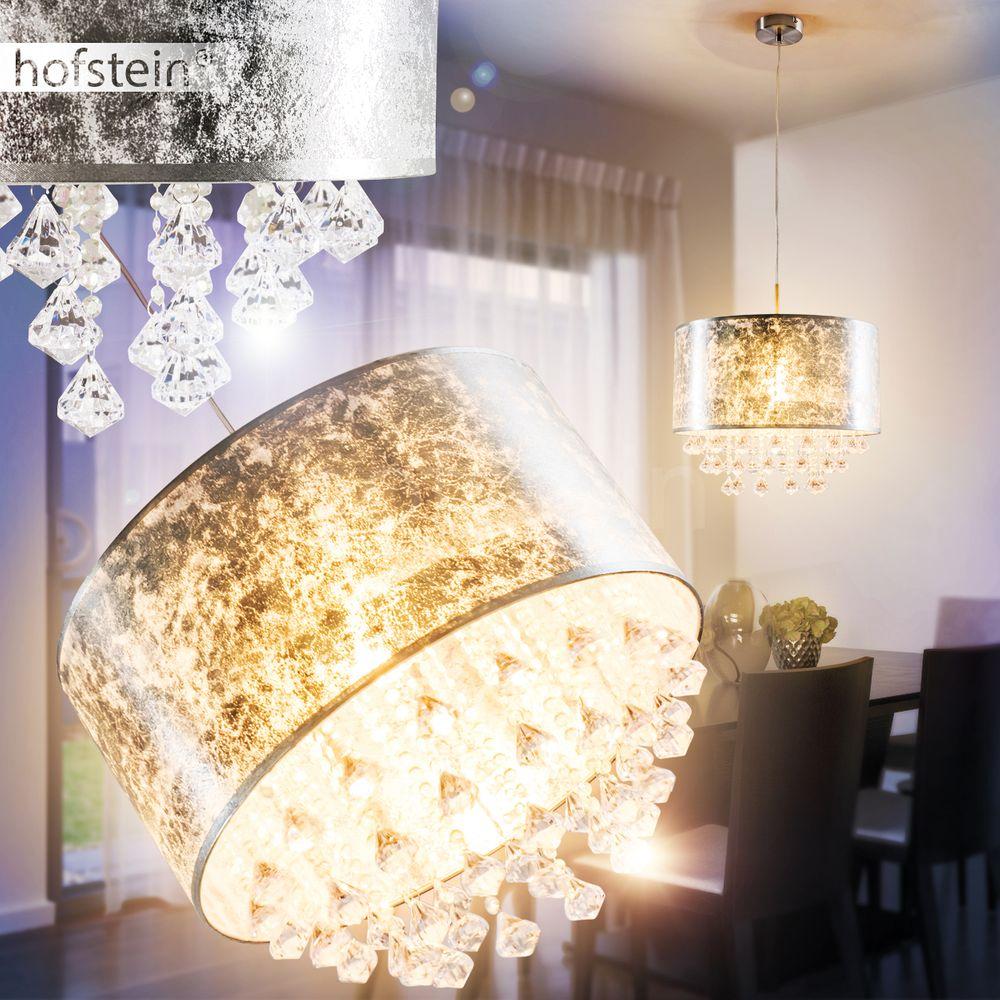silberfarbene Stoff Decken Leuchten rund Wohn Schlaf Zimmer Flur Dielen Lampen