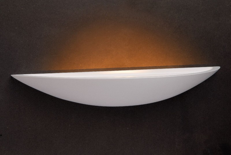Applique lampada da parete design gesso bianco mezza luna