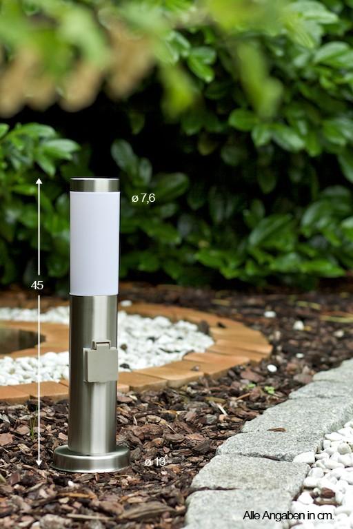 Lampadaire ext rieur borne d 39 clairage avec prise lampe de jardin en acier 30460 ebay - Prise de courant jardin ...