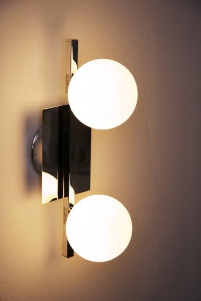 Applique da bagno Cromo vetro bianco IP44 Lampada da parete 2 luci ...